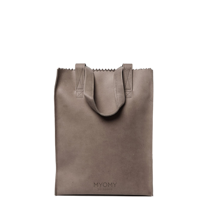 LONG HANDLE ZIP - Shopper aus Leder___Material---Leder___Color---Taupe