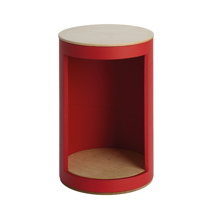 RUNDA - Hocker mit Fach___Color---Rot