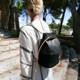 SON SERRA - Rucksack & Bucket Bag___Color---Schwarz___Material---Leder