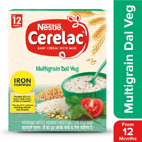 Nestle Cerelac Fortified Baby Cereal With Milk, Multigrain Dal Veg - From 12 Months, 300 g