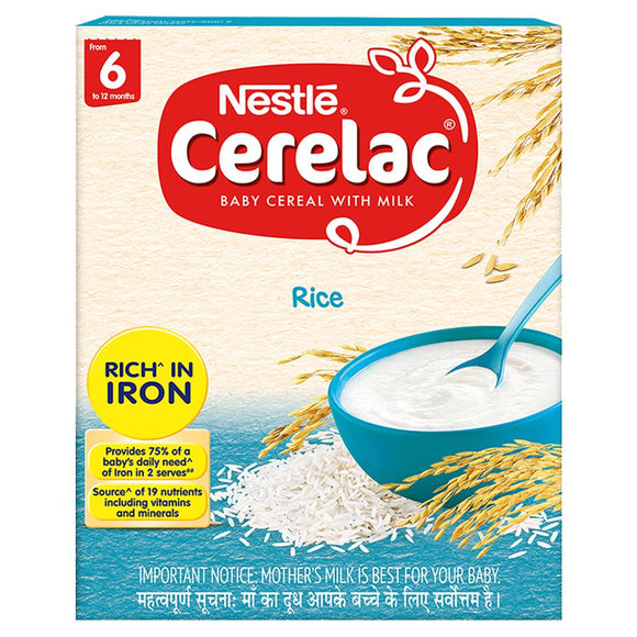 Nestle Cerelac Fortified Baby Cereal With Milk, Rice - From 6 Months, 300 g Bag-In-Box