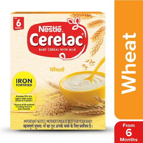 Nestle Cerelac Fortified Baby Cereal With Milk, Wheat - From 6 Months, 300 g Bag-In-Box
