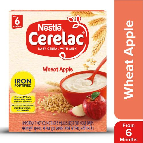 Nestle Cerelac Fortified Baby Cereal With Milk, Wheat Apple - From 6 Months, 300 g Bag-In-Box