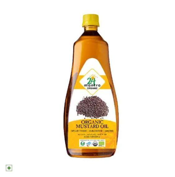 24 Mantra Organic Cold Pressed Mustard Oil, 1 L Bottle