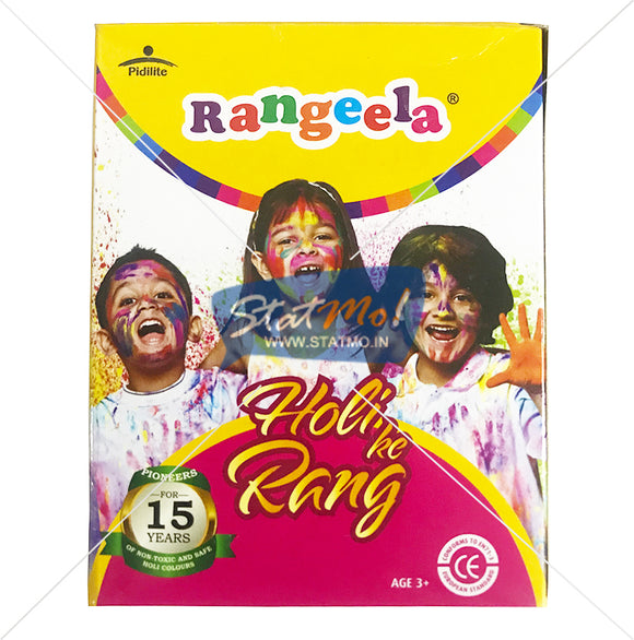 Pidilite Rangeela Non-Toxic Holi Rang Box with 4 packs (75gm each, Colors May Vary)-per customer maximum two pieces only
