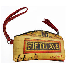 Leather Wrist Pouch - Red, Fifth Avenue Image
