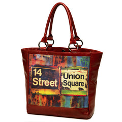 Leather Large Tote Bag - Red, Union Square Image