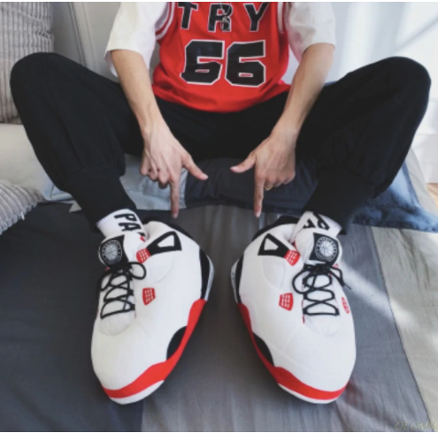 AJ4 White & Red Slippers