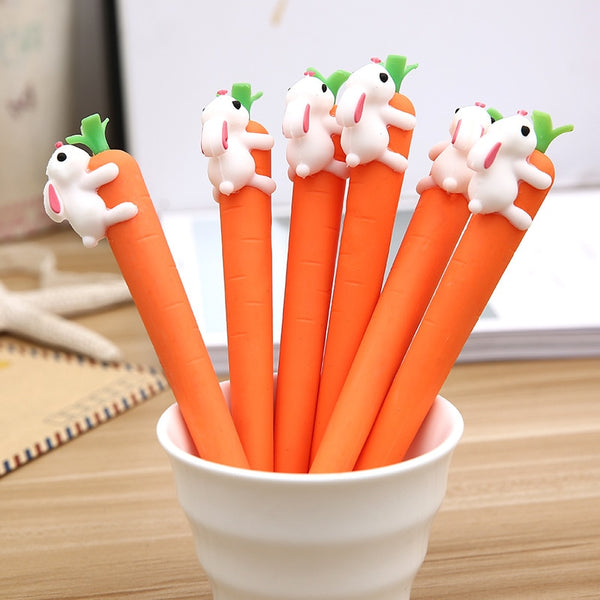 CUTE Cartoon White Rabbit and Carrot Black Pen! - Cute Addictions