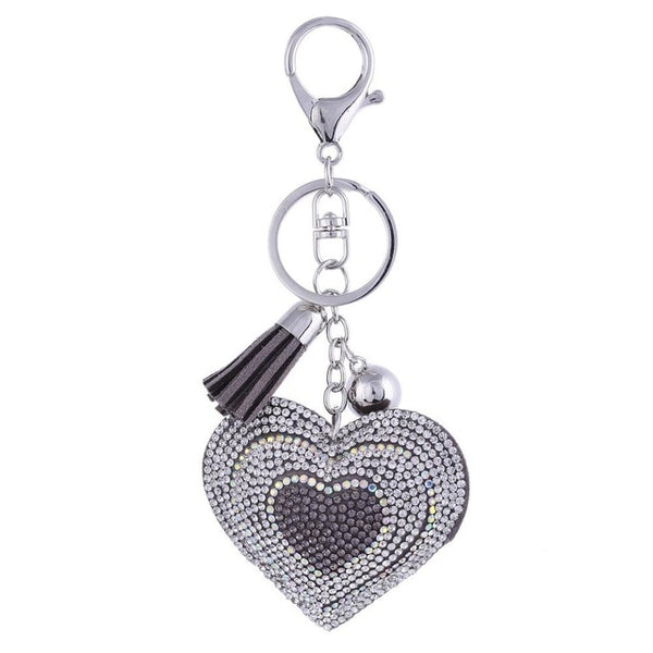 Heart Key Chain With Leather Tassel - Cute Addictions