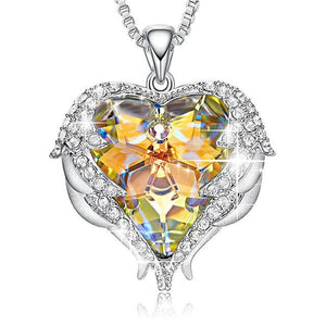 Crystal Angel Heart Necklace - Cute Addictions