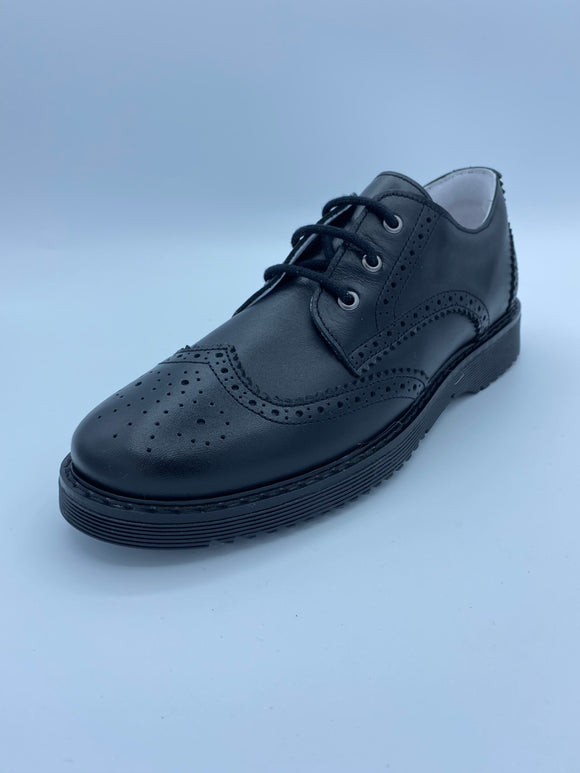 BOBELL OBJECT F BLACK LEATHER BROGUE LACE