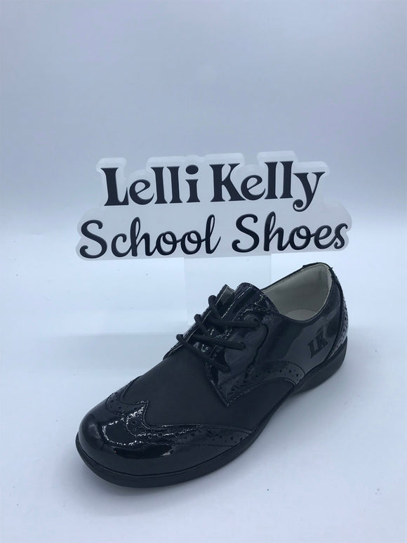 LELLI KELLY LK8283 BEVERLEY BLACK LEATHER/PATENT BROGUE LACE