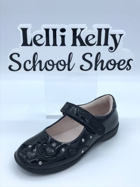 LELLI KELLY LK8210 F CHLOE BLACK PATENT DIAMANTE FLOWER MARY JANE