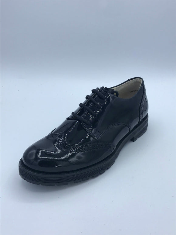 FRODDO 4130069-1 BLACK PATENT BROGUE LACE SHOE