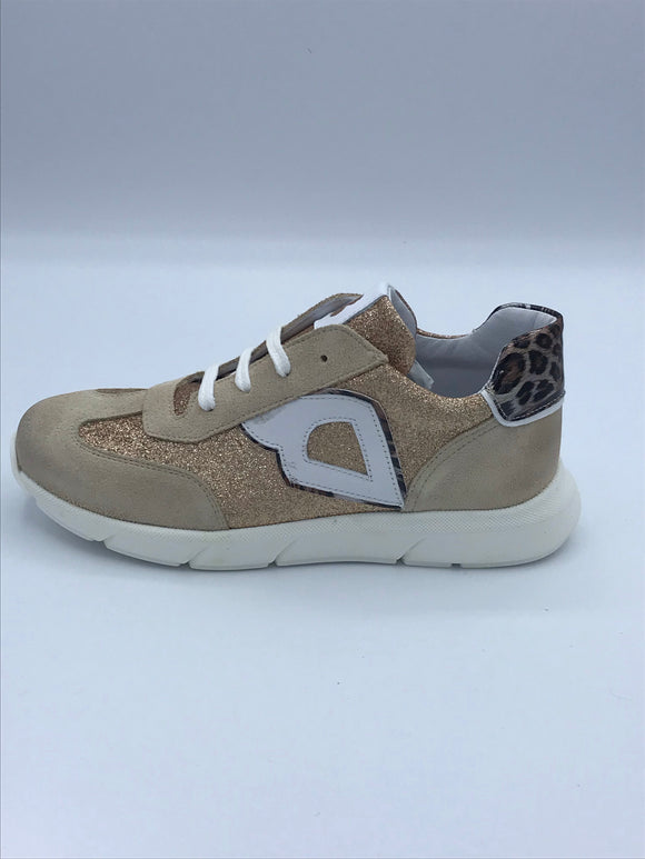 BOBELL LORIS BEIGE/GOLD/PRINT LEATHER TRAINER