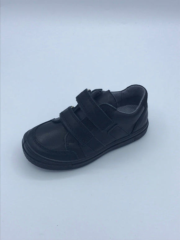 RICOSTA ETHAN BLACK LEATHER VELCRO