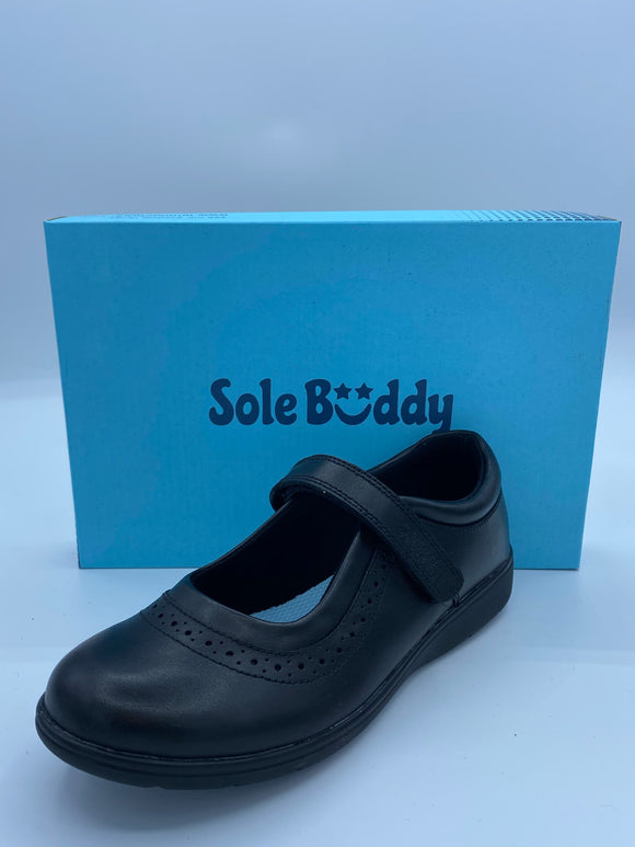 SOLE BUDDY STAR BLACK LEATHER PUNCH MARY JANE