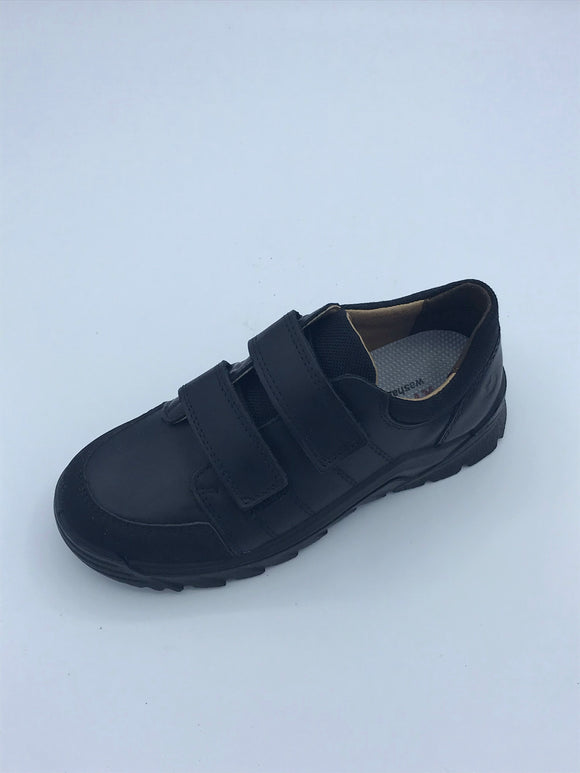 RICOSTA JOHNO BLACK LEATHER VELCRO
