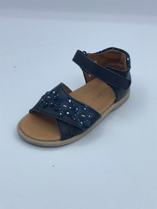 FRODDO 2150082-1 NAVY FLOWER CLOSED BACK SANDAL
