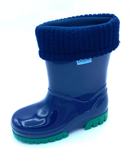 TERM NAVY/GREEN LINED WELLIES