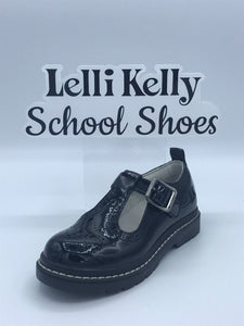 LELLI KELLY LK8292 MERYL BLACK PATENT BROGUE CHUNKY T BAR