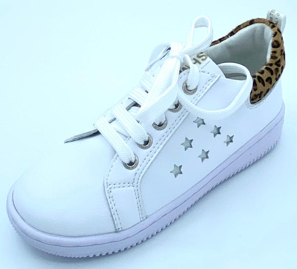 SHOESME WHITE/LEOPARD STAR LACE/ZIP TRAINER SH21S019-A