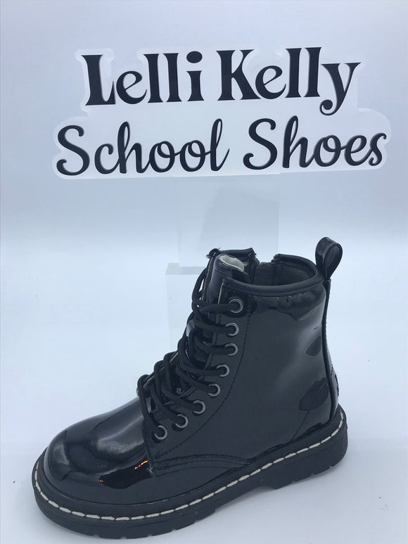 LELLI KELLY LK7500 SOFIA BLACK PATENT LACE BOOT