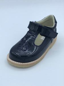 ICKLE SHOOZ ROSE T BAR NAVY PATENT LEATHER