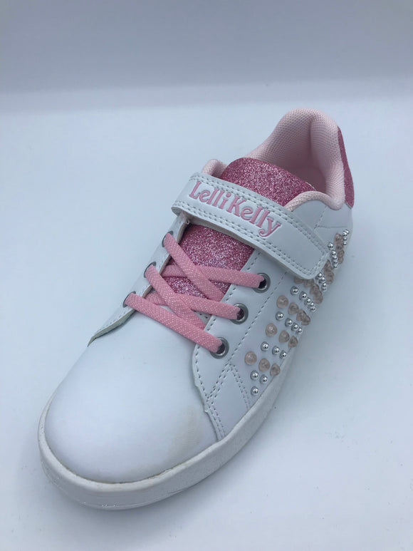 LK9814 CECILIA WHITE/PINK BEADED TRAINER