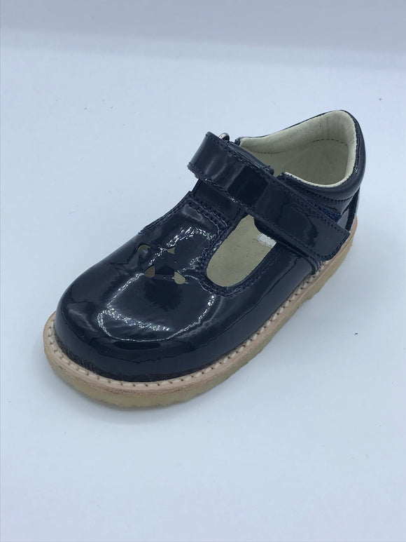 ICKLE SHOOZ TEARDROP T BAR NAVY PATENT LEATHER