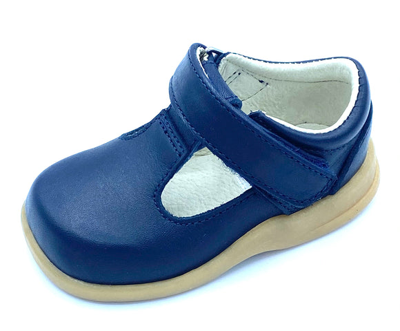 ICKLE SHOOZ FIRST WALKER T BAR NAVY LEATHER