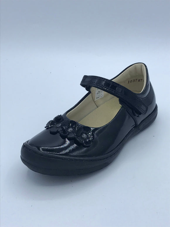 FRODDO 3140074-A BLACK PATENT FLOWER MARY JANE
