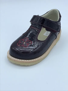ICKLE SHOOZ ROSE T BAR MULBERRY PATENT LEATHER