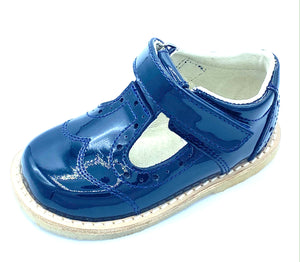 ICKLE SHOOZ BROGUE T BAR NAVY PATENT LEATHER