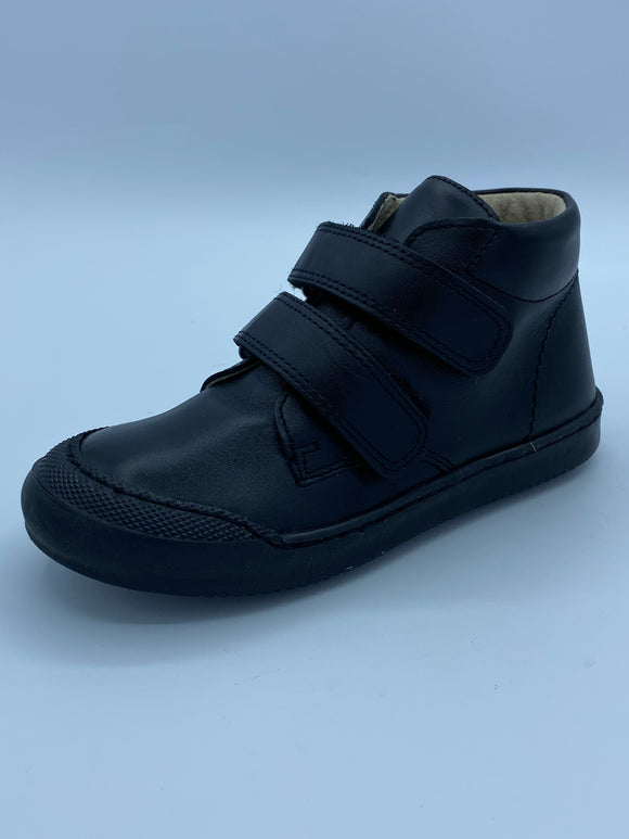 BOBELL OVER F BLACK LEATHER VELCRO ANKLE BOOT