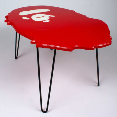 Handcrafted Red BAPE Logo | Unique Coffee Table