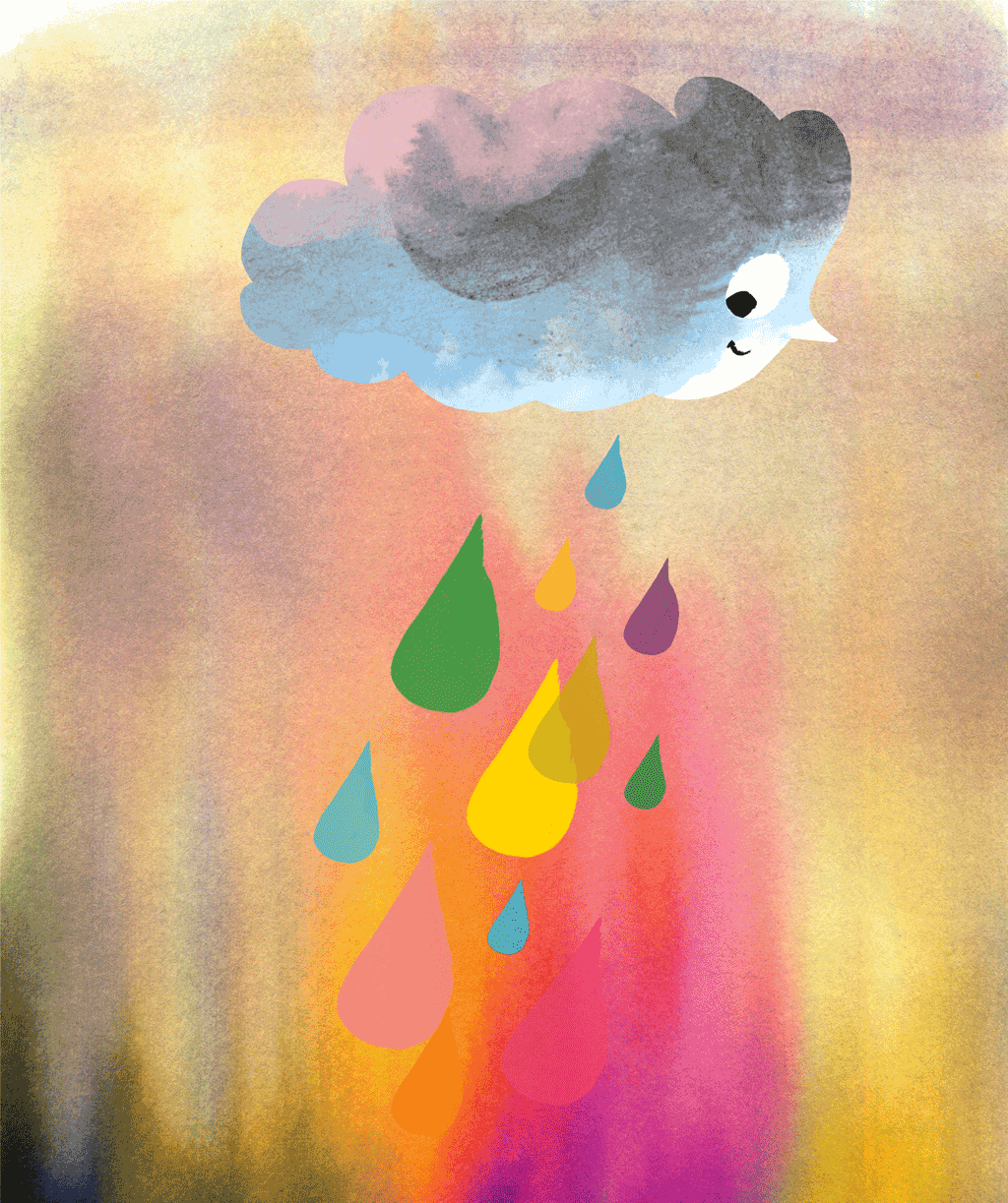 Cyril the Lonely Cloud dropping coloured rain