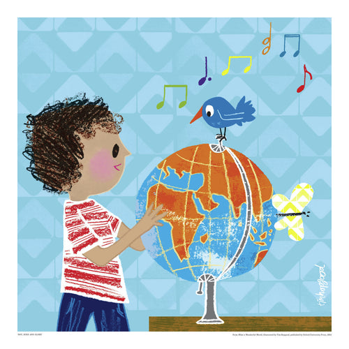 BOY, BIRD AND GLOBE