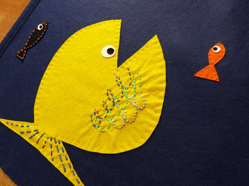 Yellow Fish Felt Wall Banner