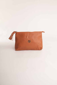 Alison Van Der Lande Tassle Make Up Bag / Clutch - Cognac - Blissimi Beauty LLP
