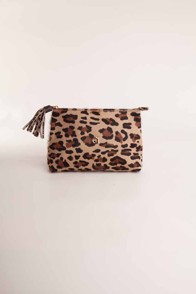 Alison Van Der Lande Tassle Make Up Bag / Clutch - Leopard - Blissimi Beauty LLP