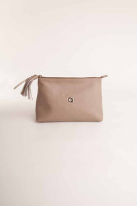 Alison Van Der Lande Tassle Make Up Bag / Clutch - Taupe - Blissimi Beauty LLP