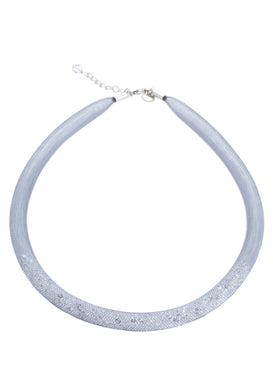 by niya London Crystal Splash Part Filled Fatty Necklace with Sterling Silver Clasp - Grey & Clear - Blissimi Beauty LLP