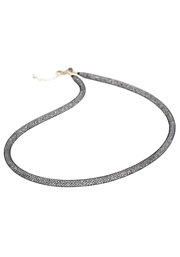 by niya London Dazzle Me Skinny Necklace with Sterling Silver Clasp - Black & Clear - Blissimi Beauty LLP