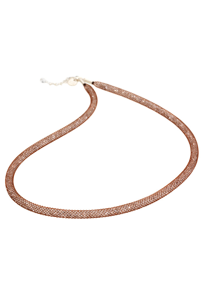 by niya London Dazzle Me Skinny Necklace with Sterling Silver Clasp - Brown & Clear - Blissimi Beauty LLP