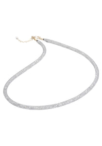 by niya London Dazzle Me Skinny Necklace with Sterling Silver Clasp - Grey & Clear - Blissimi Beauty LLP