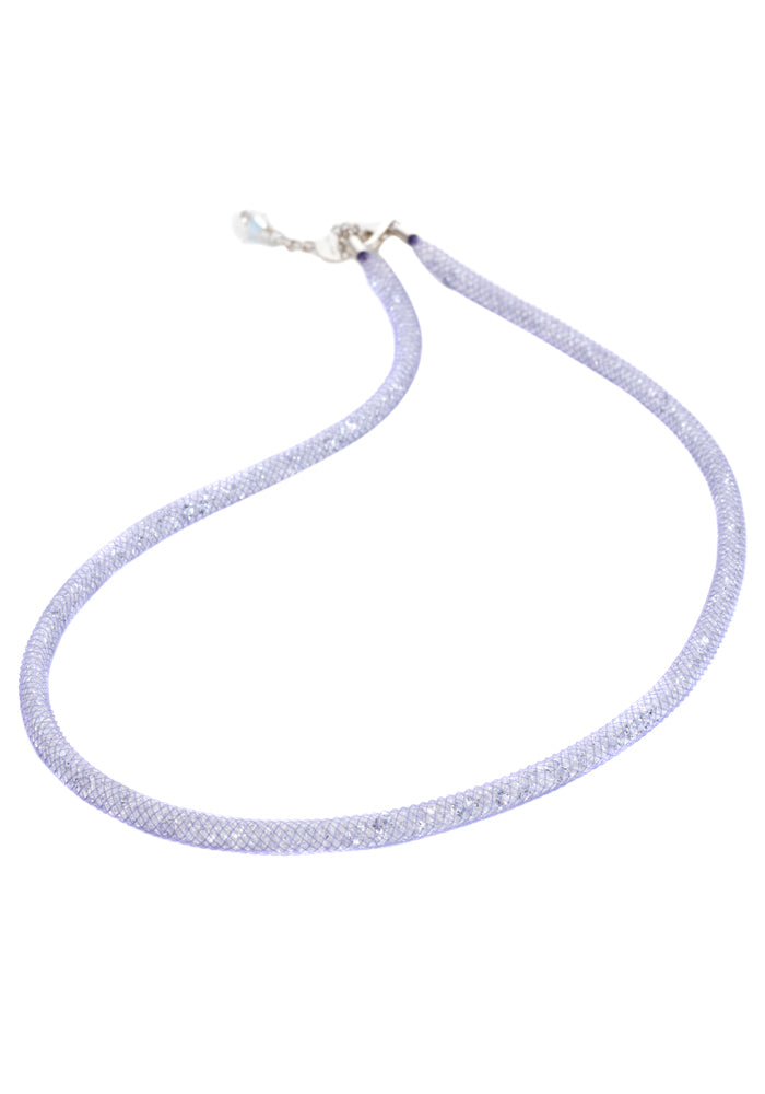 by niya London Dazzle Me Skinny Necklace with Sterling Silver Clasp - Lilac & Clear - Blissimi Beauty LLP