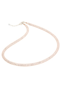 by niya London Dazzle Me Skinny Necklace with Sterling Silver Clasp - Nude & Clear - Blissimi Beauty LLP