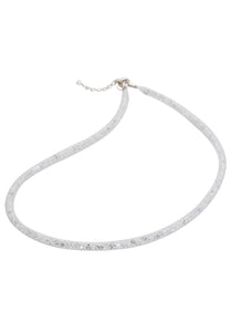 by niya London Dazzle Me Skinny Necklace with Sterling Silver Clasp - White & Clear - Blissimi Beauty LLP